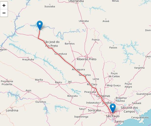 Mapa que mostra distância São Paulo até Hotel Fazenda Foz do Marinheiro em Cardoso SP